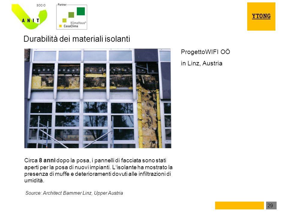 29 SOCIO Circa 8 anni dopo la posa, i pannelli di facciata sono stati aperti per la posa di nuovi impianti.