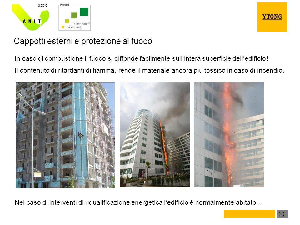 30 SOCIO In caso di combustione il fuoco si diffonde facilmente sullintera superficie delledificio .