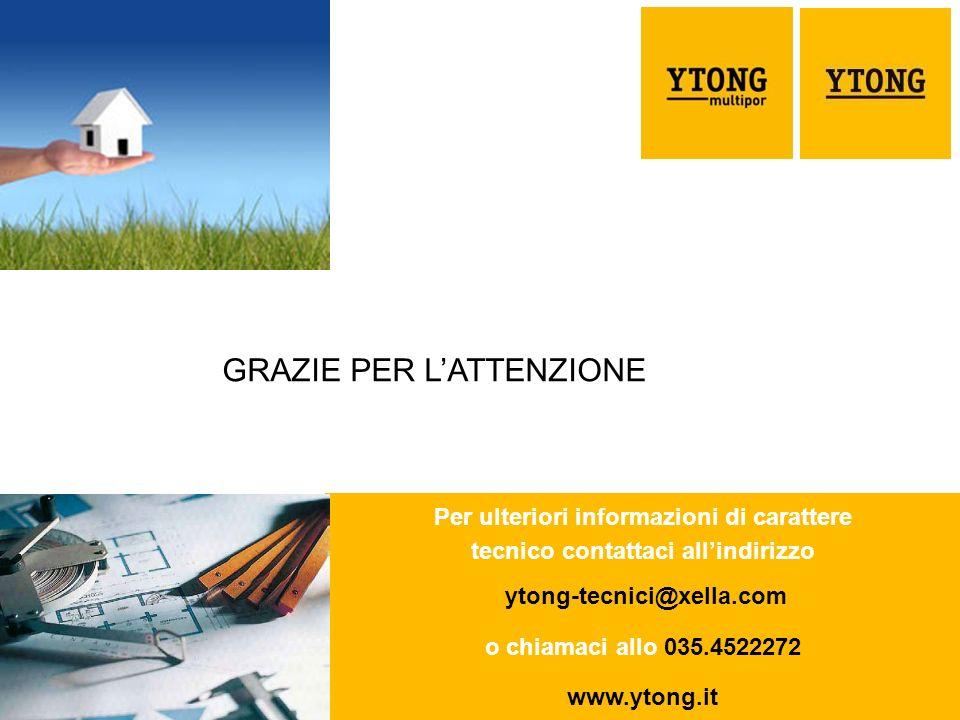 36 SOCIO Per ulteriori informazioni di carattere tecnico contattaci allindirizzo ytong-tecnici@xella.com o chiamaci allo 035.4522272 www.ytong.it GRAZIE PER LATTENZIONE
