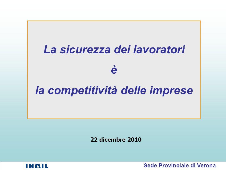 La sicurezza dei lavoratori è la competitività delle imprese Sede Provinciale di Verona 22 dicembre 2010