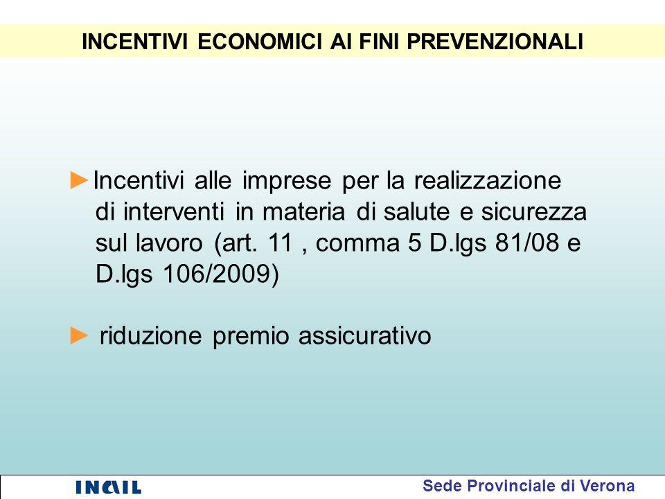 INCENTIVI ECONOMICI AI FINI PREVENZIONALI Incentivi alle imprese per la realizzazione di interventi in materia di salute e sicurezza sul lavoro (art.