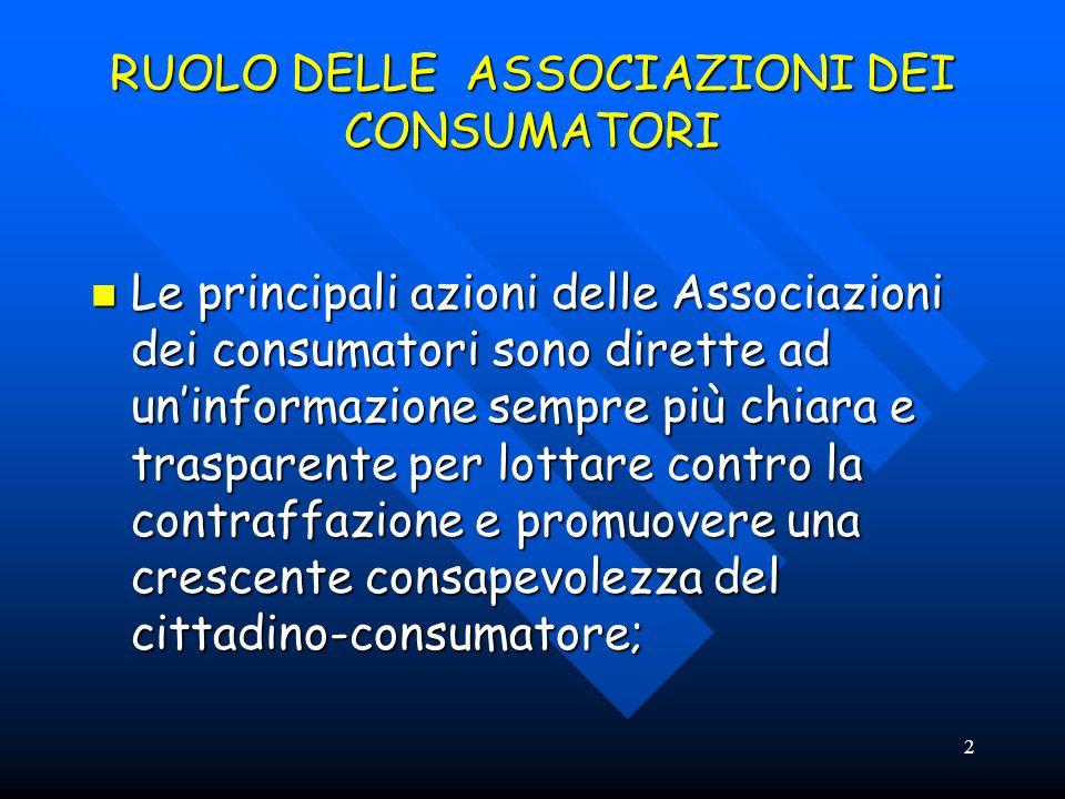 2 RUOLO DELLE ASSOCIAZIONI DEI CONSUMATORI Le principali azioni delle Associazioni dei consumatori sono dirette ad uninformazione sempre più chiara e