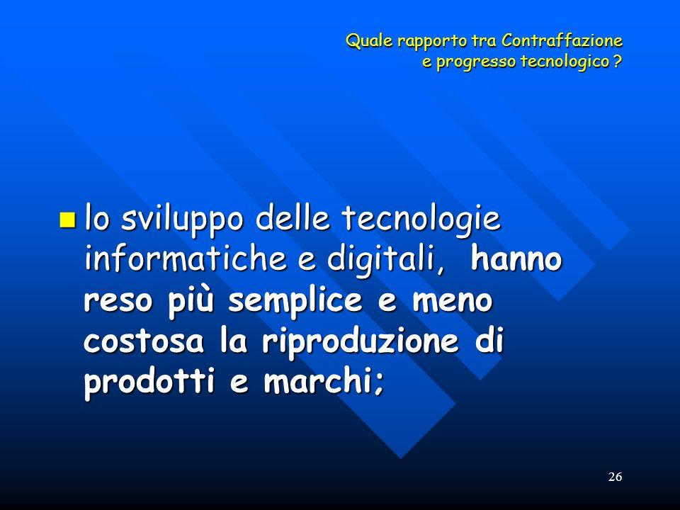 26 Quale rapporto tra Contraffazione e progresso tecnologico ? lo sviluppo delle tecnologie informatiche e digitali, hanno reso più semplice e meno co