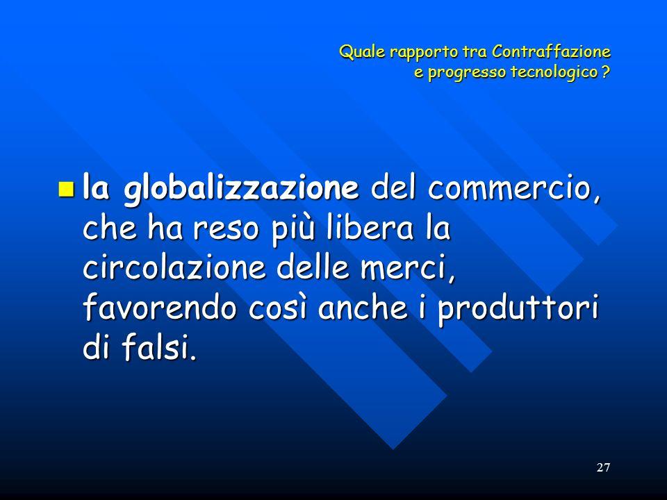 27 Quale rapporto tra Contraffazione e progresso tecnologico ? la globalizzazione del commercio, che ha reso più libera la circolazione delle merci, f