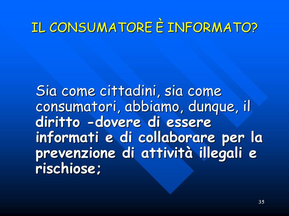 35 IL CONSUMATORE È INFORMATO? Sia come cittadini, sia come consumatori, abbiamo, dunque, il diritto -dovere di essere informati e di collaborare per