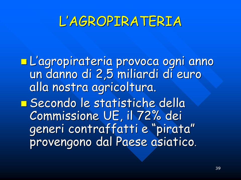 39 LAGROPIRATERIA Lagropirateria provoca ogni anno un danno di 2,5 miliardi di euro alla nostra agricoltura. Lagropirateria provoca ogni anno un danno