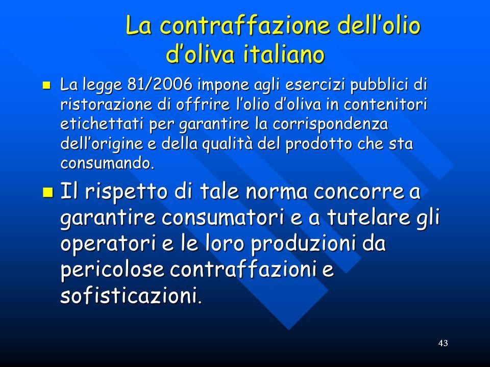 43 La contraffazione dellolio doliva italiano La contraffazione dellolio doliva italiano La legge 81/2006 impone agli esercizi pubblici di ristorazion