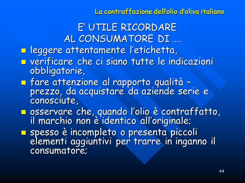 44 La contraffazione dellolio doliva italiano E UTILE RICORDARE AL CONSUMATORE DI …. leggere attentamente letichetta, leggere attentamente letichetta,