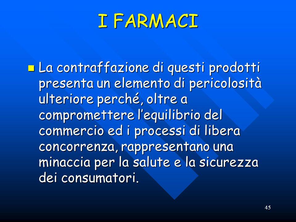 45 I FARMACI La contraffazione di questi prodotti presenta un elemento di pericolosità ulteriore perché, oltre a compromettere lequilibrio del commerc