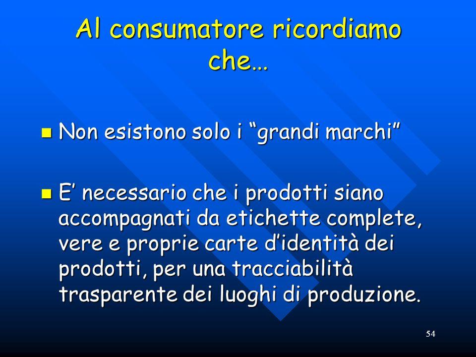 54 Al consumatore ricordiamo che… Non esistono solo i grandi marchi Non esistono solo i grandi marchi E necessario che i prodotti siano accompagnati d