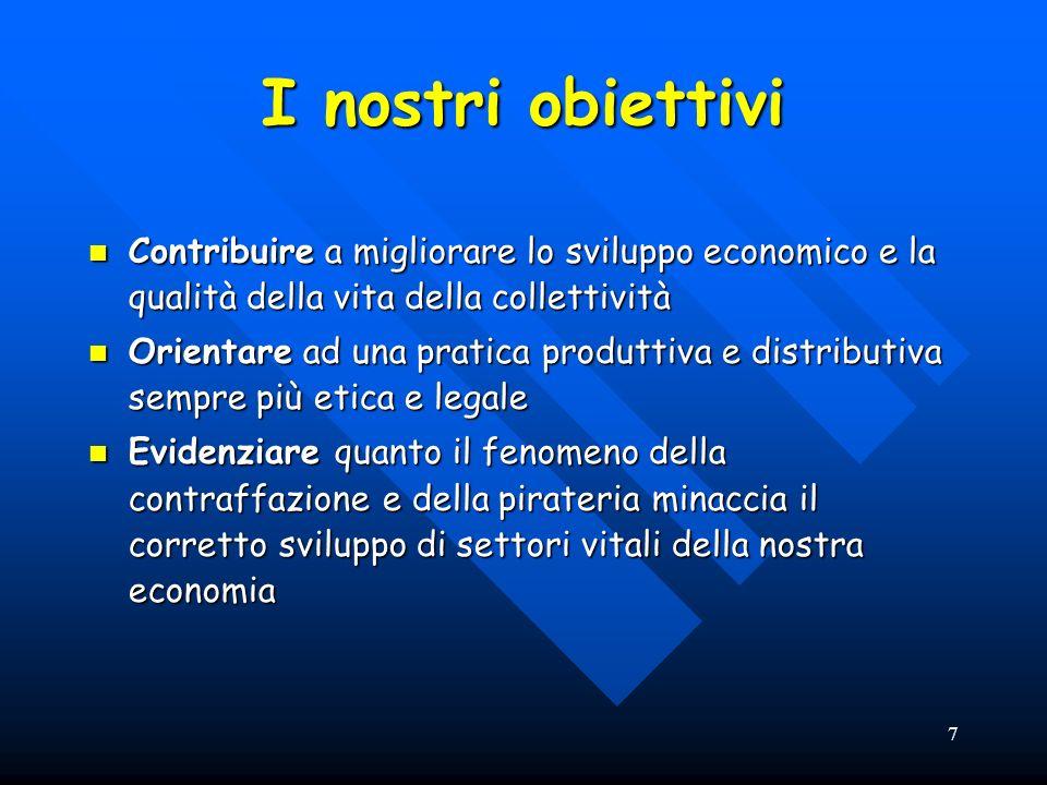 7 I nostri obiettivi Contribuire a migliorare lo sviluppo economico e la qualità della vita della collettività Contribuire a migliorare lo sviluppo ec