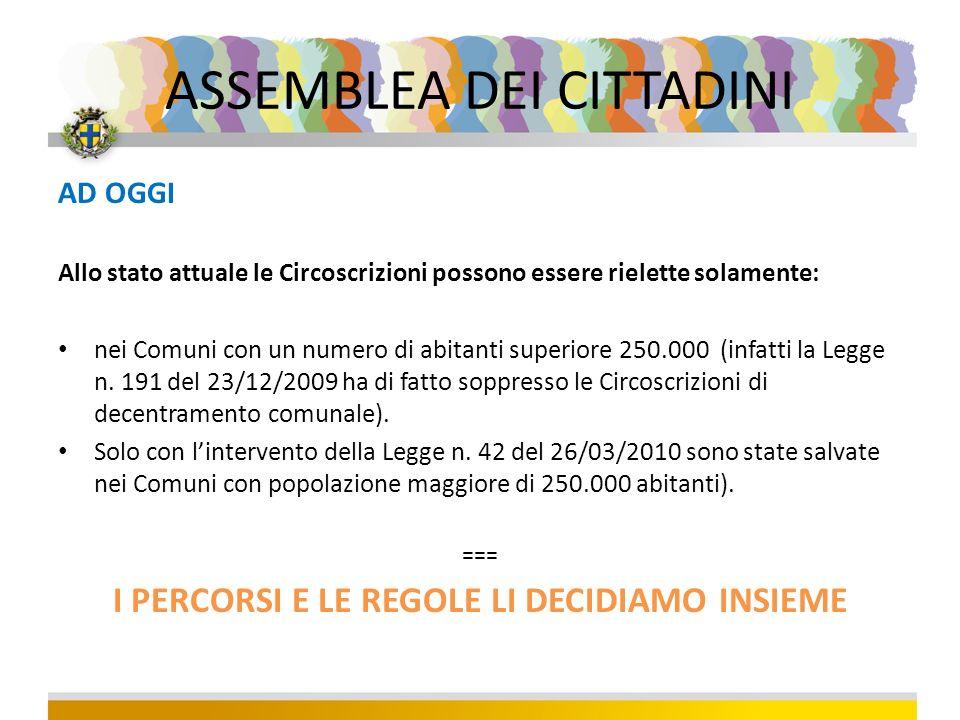 AD OGGI Allo stato attuale le Circoscrizioni possono essere rielette solamente: nei Comuni con un numero di abitanti superiore 250.000 (infatti la Legge n.