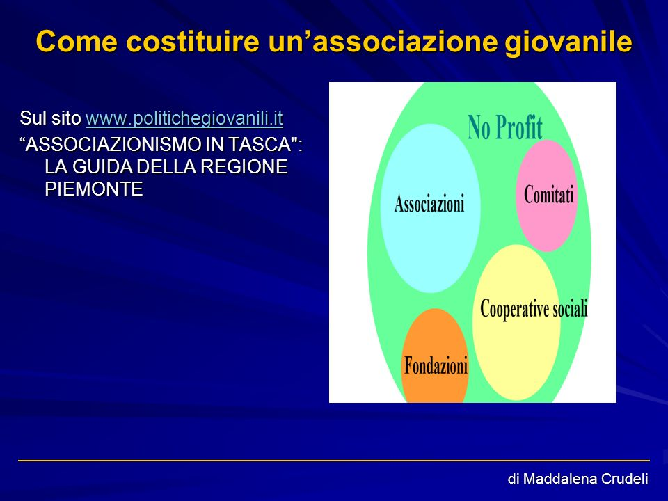 Come costituire unassociazione giovanile Sul sito www.politichegiovanili.it www.politichegiovanili.it ASSOCIAZIONISMO IN TASCA