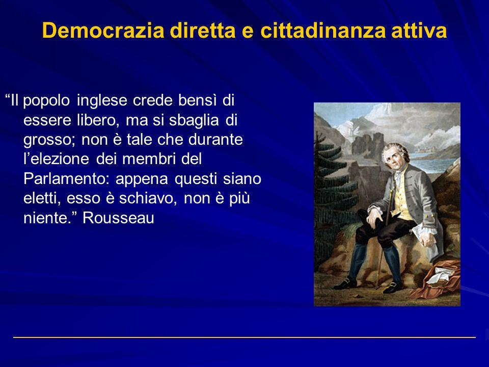 Democrazia diretta e cittadinanza attiva Il popolo inglese crede bensì di essere libero, ma si sbaglia di grosso; non è tale che durante lelezione dei