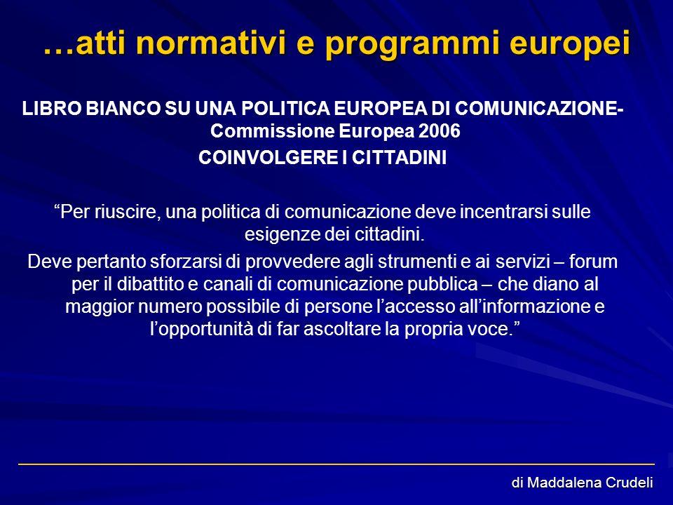 di Maddalena Crudeli …atti normativi e programmi europei LIBRO BIANCO SU UNA POLITICA EUROPEA DI COMUNICAZIONE- Commissione Europea 2006 COINVOLGERE I