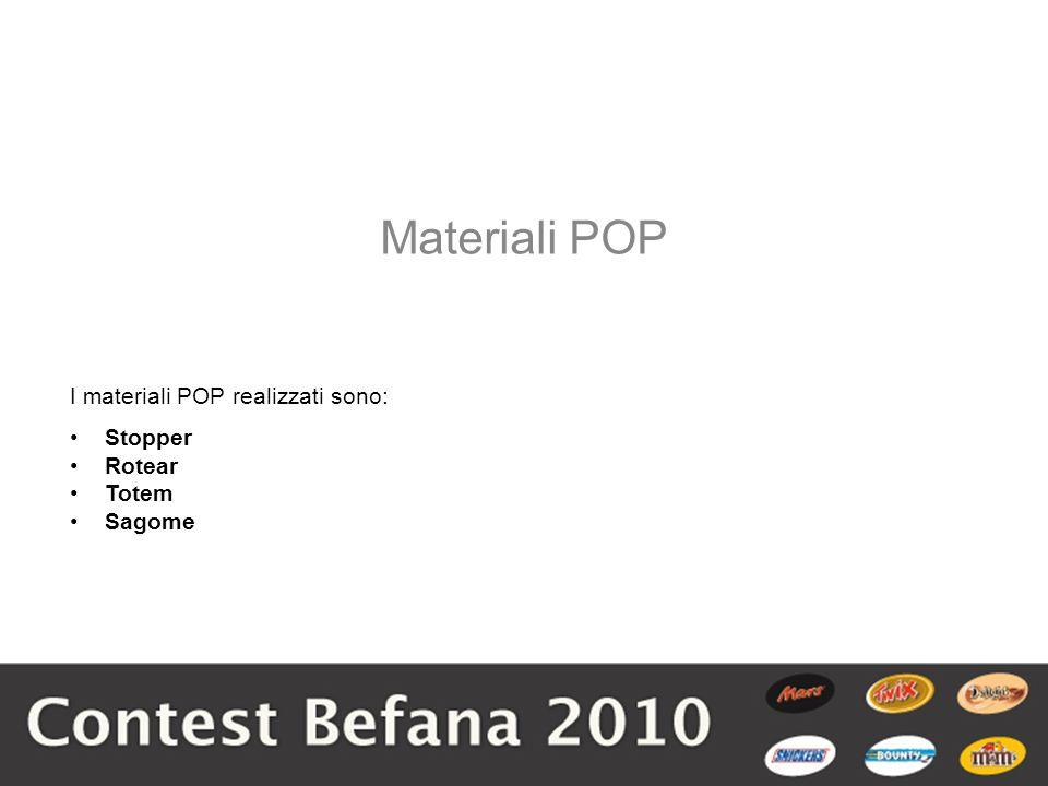 I materiali POP realizzati sono: Stopper Rotear Totem Sagome Materiali POP