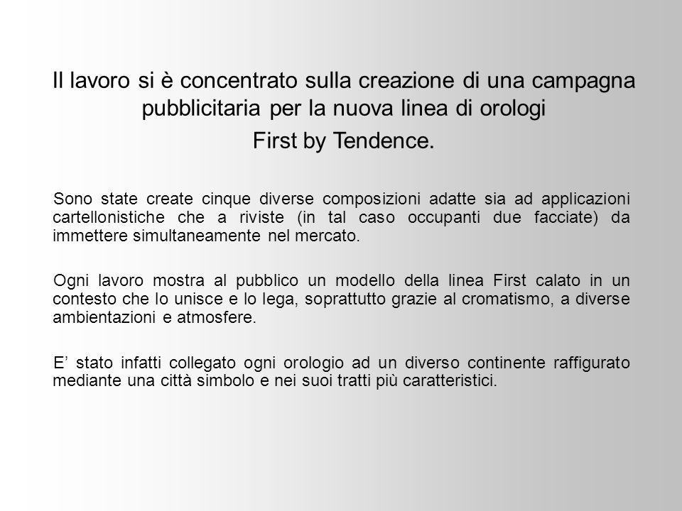 Sono state create cinque diverse composizioni adatte sia ad applicazioni cartellonistiche che a riviste (in tal caso occupanti due facciate) da immettere simultaneamente nel mercato.