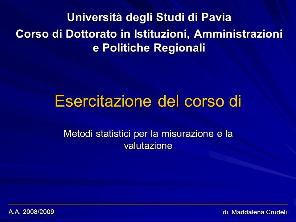 A.A. 2008/2009 di Maddalena Crudeli Esercitazione del corso di Università degli Studi di Pavia Corso di Dottorato in Istituzioni, Amministrazioni e Po