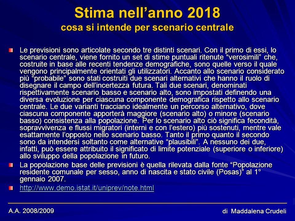 A.A. 2008/2009 di Maddalena Crudeli Stima nellanno 2018 cosa si intende per scenario centrale Le previsioni sono articolate secondo tre distinti scena
