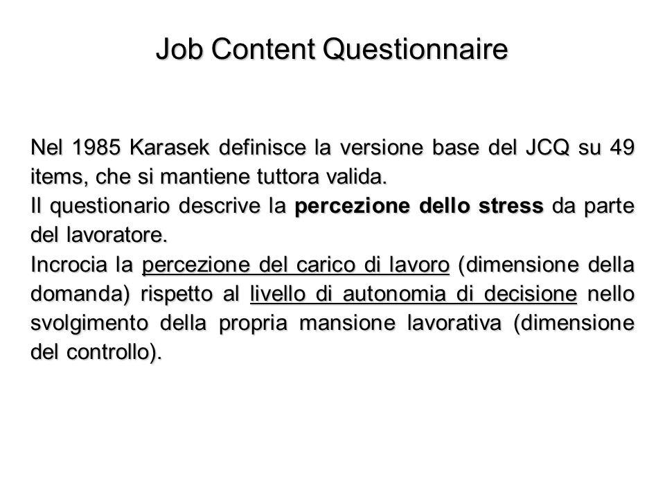 Job Content Questionnaire Nel 1985 Karasek definisce la versione base del JCQ su 49 items, che si mantiene tuttora valida. Il questionario descrive la