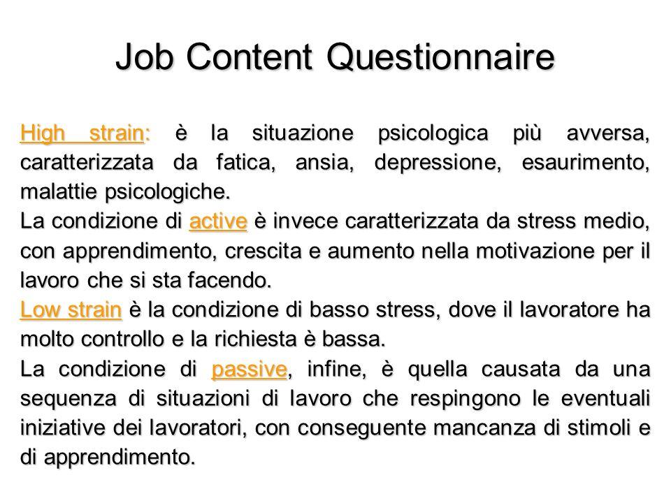 Job Content Questionnaire High strain: è la situazione psicologica più avversa, caratterizzata da fatica, ansia, depressione, esaurimento, malattie ps