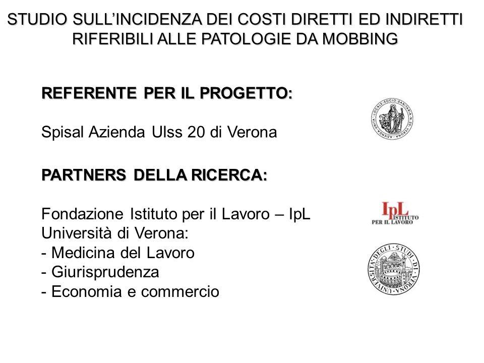 PARTNERS DELLA RICERCA: Fondazione Istituto per il Lavoro – IpL Università di Verona: - Medicina del Lavoro - Giurisprudenza - Economia e commercio RE