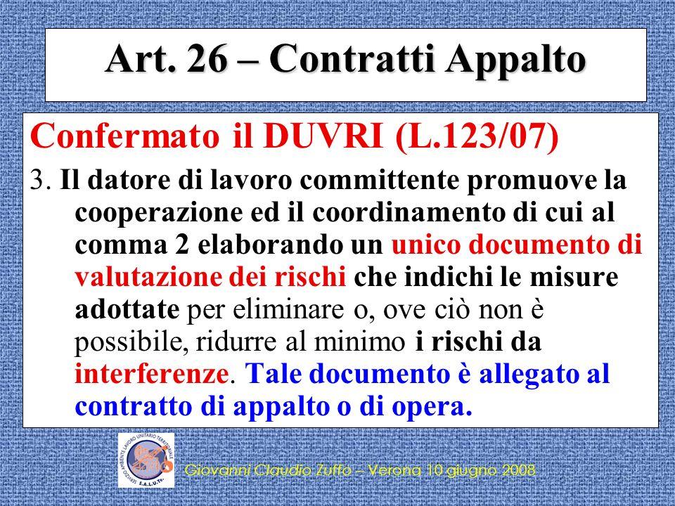 Giovanni Claudio Zuffo – S.A.L.U.Te.Cgil – Cisl – Uil Verona COSE IL DUVRI.