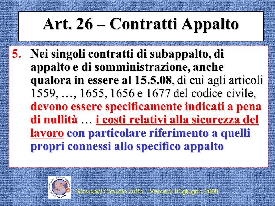 Giovanni Claudio Zuffo – Verona 10 giugno 2008 Costi sicurezza nei contratti dappalto (proroga) Con riferimento ai contratti stipulati prima del 25 agosto 2007 i costi della sicurezza del lavoro devono essere indicati entro il 31 dicembre 2008.