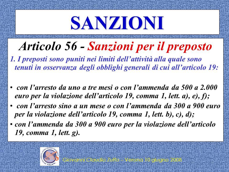 Giovanni Claudio Zuffo – Verona 10 giugno 2008 SANZIONI 2.