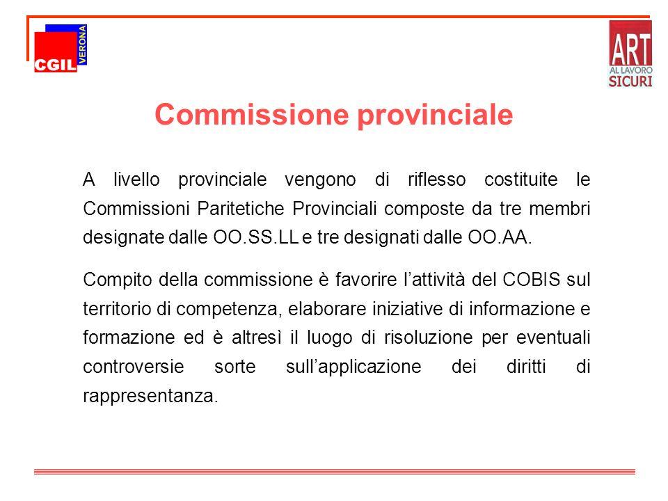 Commissione provinciale A livello provinciale vengono di riflesso costituite le Commissioni Paritetiche Provinciali composte da tre membri designate d