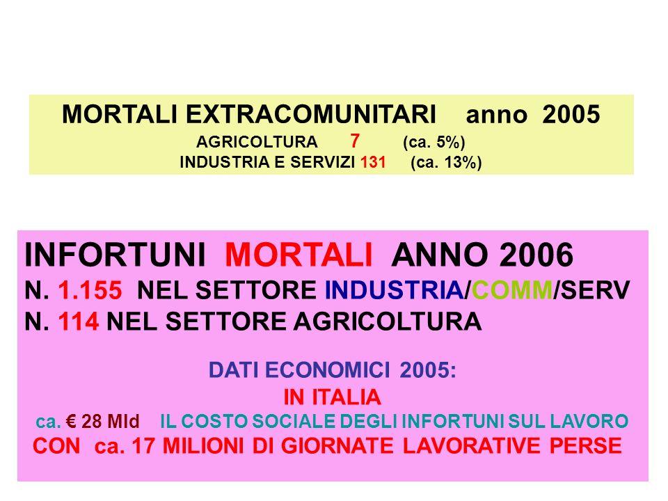 MORTALI EXTRACOMUNITARI anno 2005 AGRICOLTURA 7 (ca.