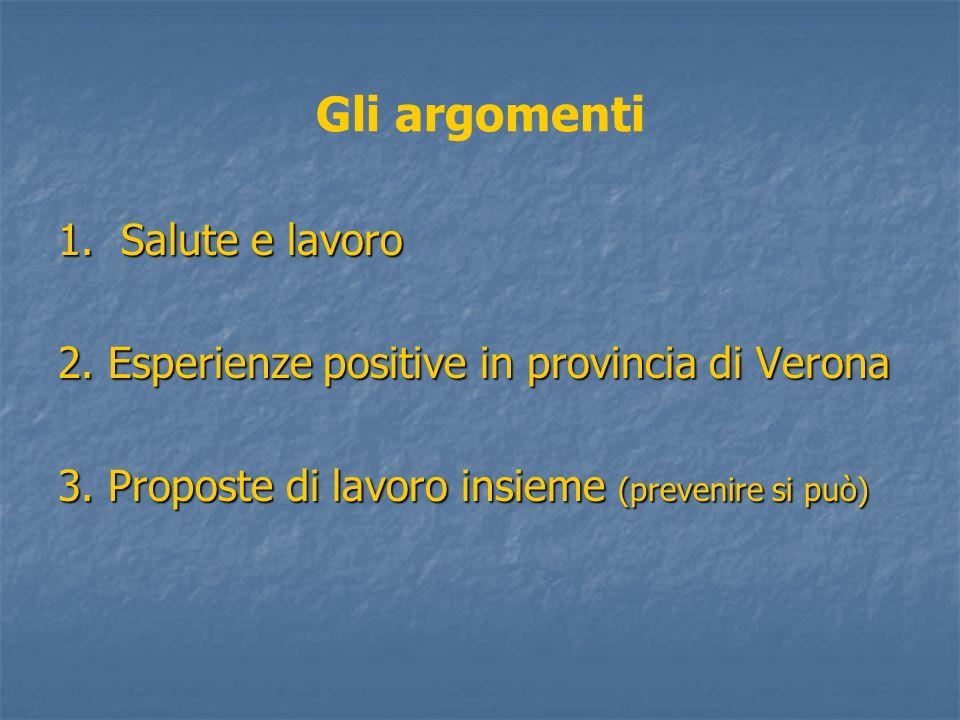 Gli argomenti 1. Salute e lavoro 2. Esperienze positive in provincia di Verona 3. Proposte di lavoro insieme (prevenire si può)