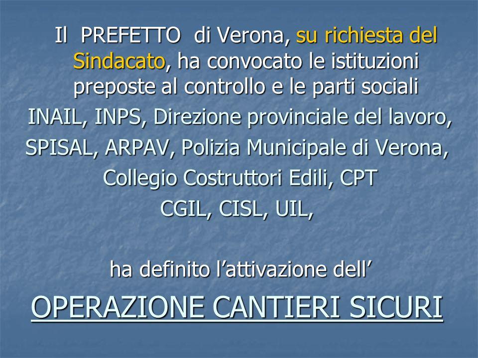 Il PREFETTO di Verona, su richiesta del Sindacato, ha convocato le istituzioni preposte al controllo e le parti sociali INAIL, INPS, Direzione provinc