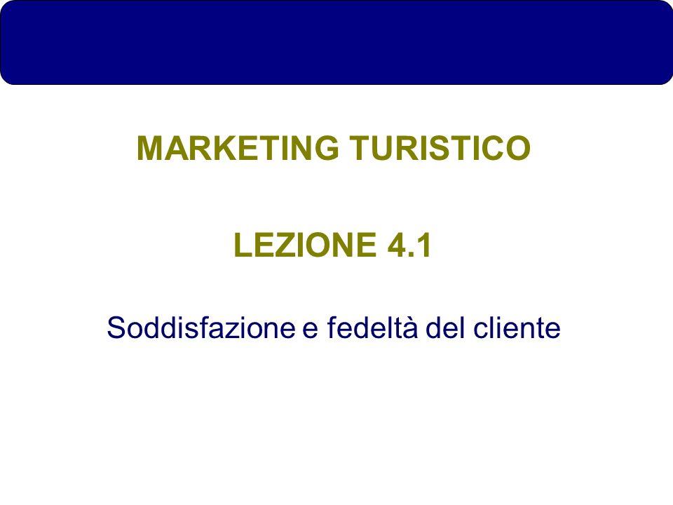 MARKETING TURISTICO LEZIONE 4.1 Soddisfazione e fedeltà del cliente