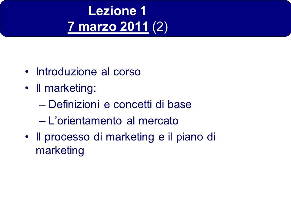 Lezione 1 7 marzo 2011 (2) Introduzione al corso Il marketing: –Definizioni e concetti di base –Lorientamento al mercato Il processo di marketing e il