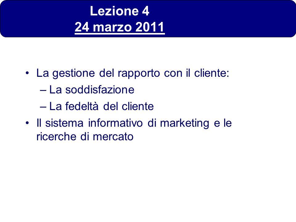 Lezione 4 24 marzo 2011 La gestione del rapporto con il cliente: –La soddisfazione –La fedeltà del cliente Il sistema informativo di marketing e le ri