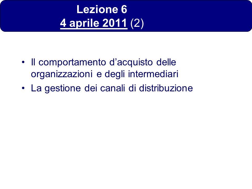 Lezione 6 4 aprile 2011 (2) Il comportamento dacquisto delle organizzazioni e degli intermediari La gestione dei canali di distribuzione