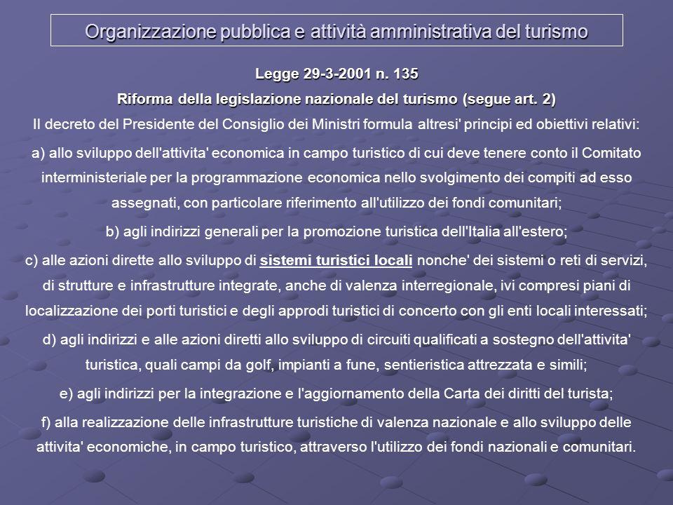 Organizzazione pubblica e attività amministrativa del turismo Legge 29-3-2001 n. 135 Riforma della legislazione nazionale del turismo (segue art. 2) L