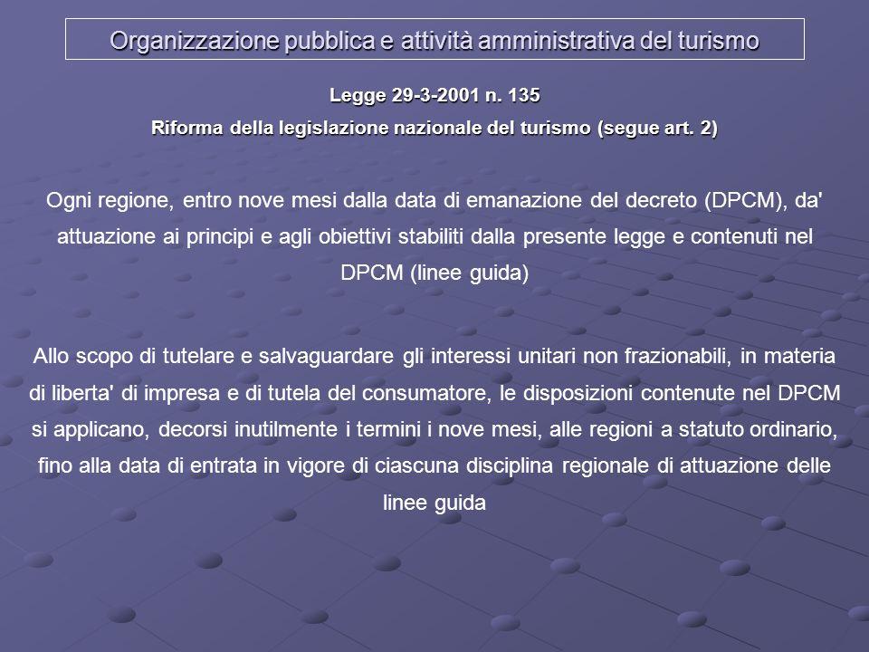 Organizzazione pubblica e attività amministrativa del turismo Legge 29-3-2001 n. 135 Riforma della legislazione nazionale del turismo (segue art. 2) O