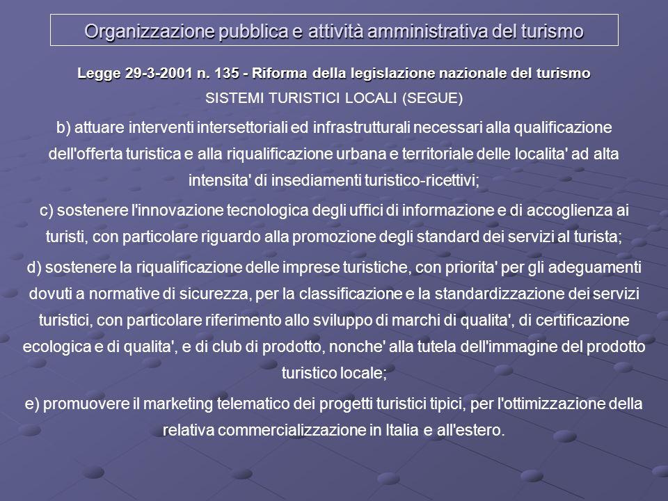 Organizzazione pubblica e attività amministrativa del turismo Legge 29-3-2001 n. 135 - Riforma della legislazione nazionale del turismo Legge 29-3-200