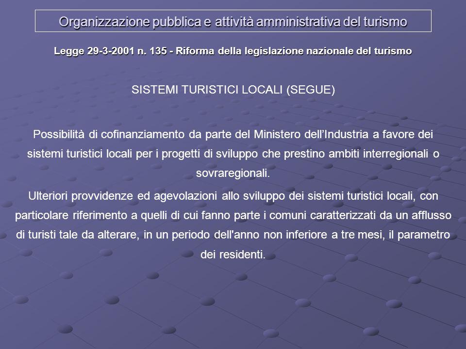Organizzazione pubblica e attività amministrativa del turismo Legge 29-3-2001 n. 135 - Riforma della legislazione nazionale del turismo SISTEMI TURIST