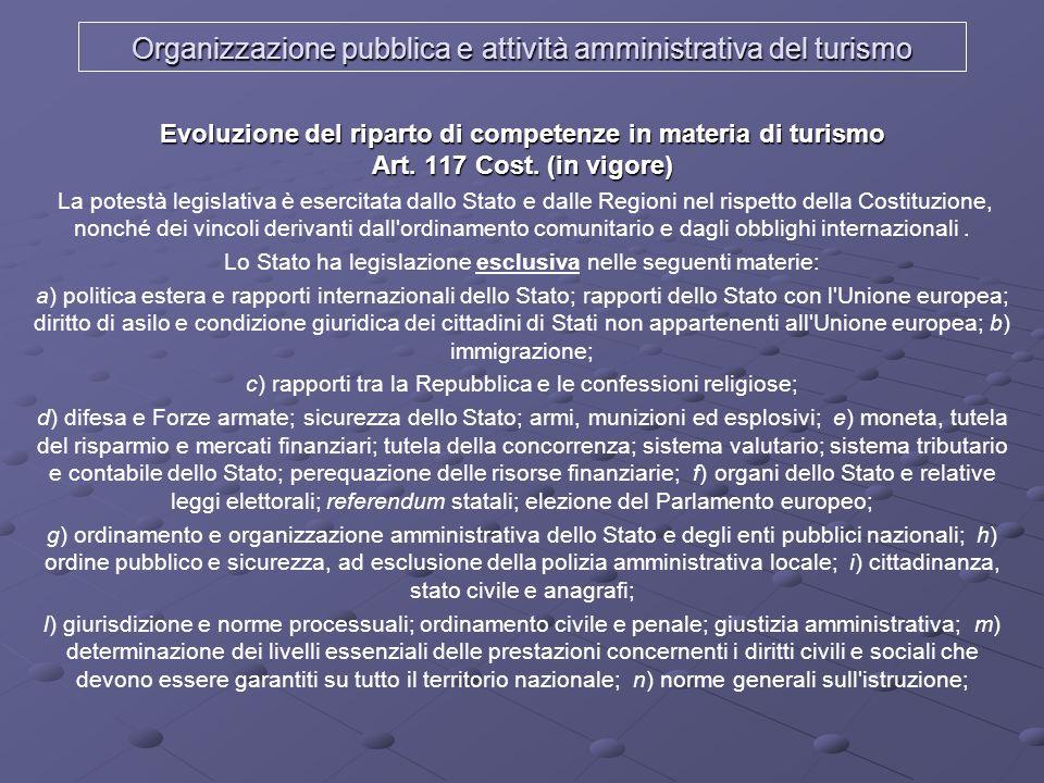 Organizzazione pubblica e attività amministrativa del turismo Evoluzione del riparto di competenze in materia di turismo Art. 117 Cost. (in vigore) La