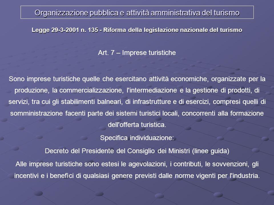 Organizzazione pubblica e attività amministrativa del turismo Legge 29-3-2001 n. 135 - Riforma della legislazione nazionale del turismo Art. 7 – Impre