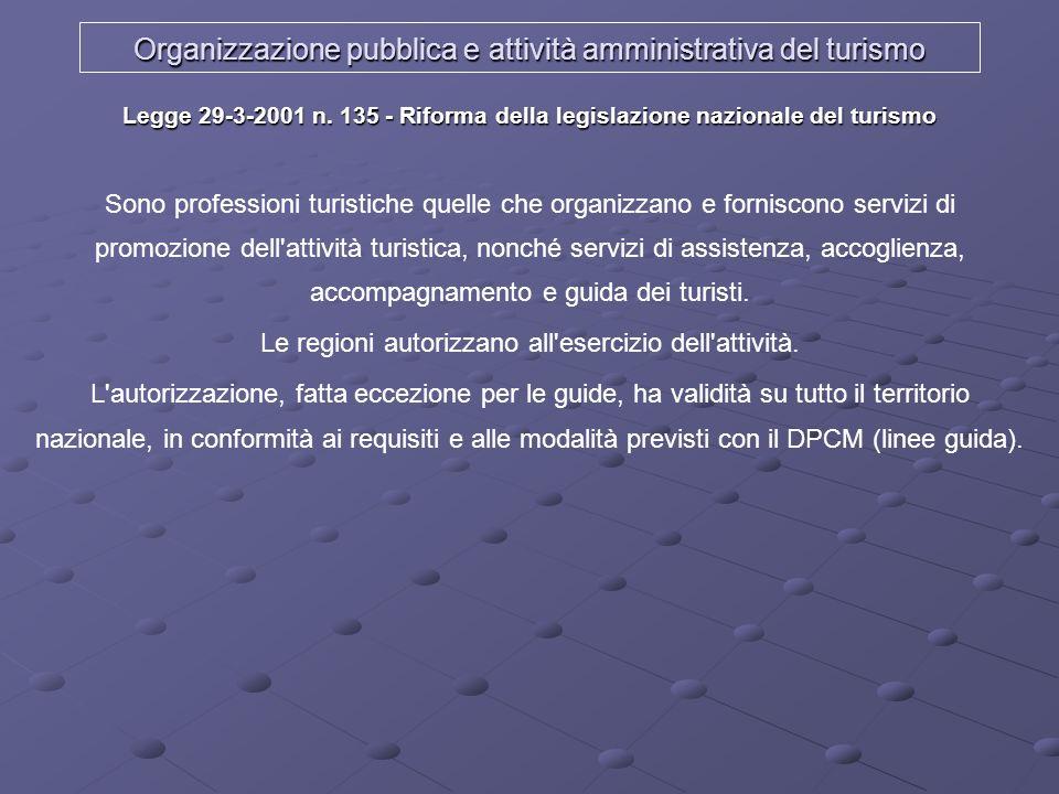 Organizzazione pubblica e attività amministrativa del turismo Legge 29-3-2001 n. 135 - Riforma della legislazione nazionale del turismo Sono professio