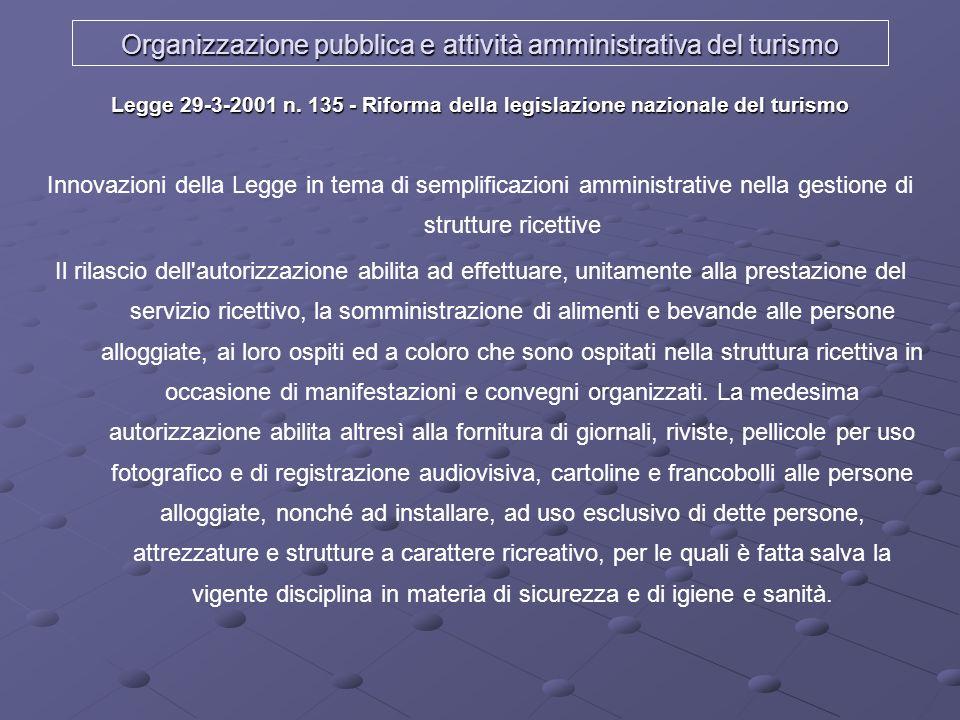 Organizzazione pubblica e attività amministrativa del turismo Legge 29-3-2001 n. 135 - Riforma della legislazione nazionale del turismo Innovazioni de