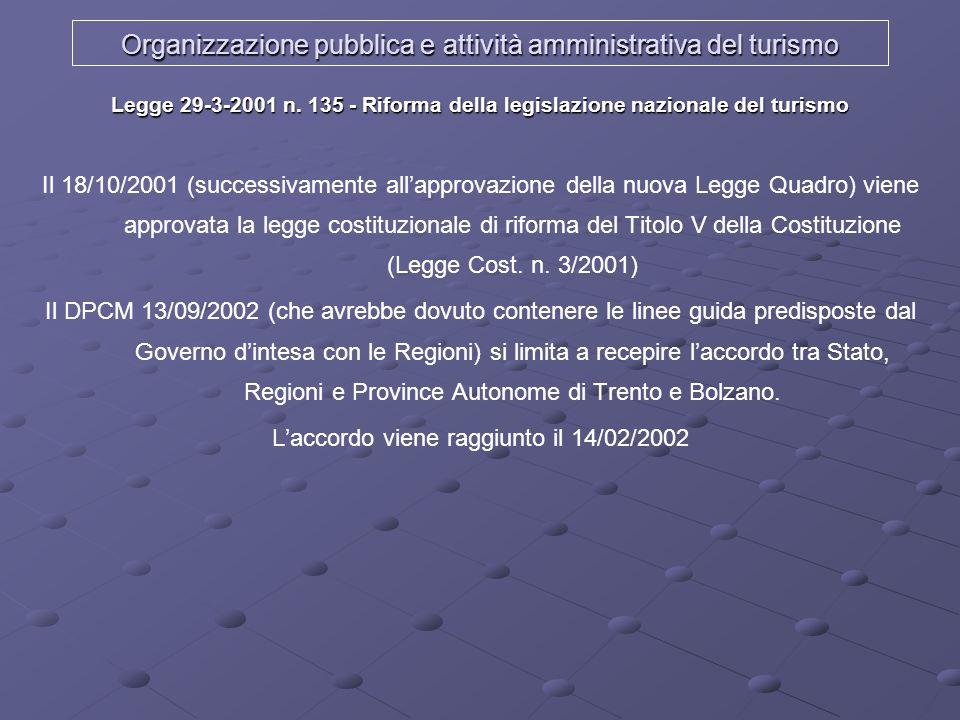 Organizzazione pubblica e attività amministrativa del turismo Legge 29-3-2001 n. 135 - Riforma della legislazione nazionale del turismo Il 18/10/2001