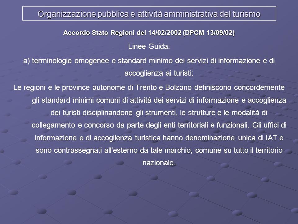 Organizzazione pubblica e attività amministrativa del turismo Accordo Stato Regioni del 14/02/2002 (DPCM 13/09/02) Linee Guida: a) terminologie omogen