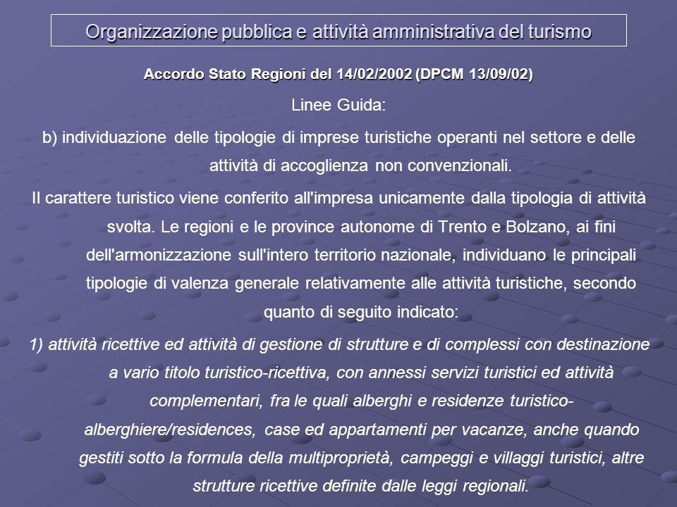 Organizzazione pubblica e attività amministrativa del turismo Accordo Stato Regioni del 14/02/2002 (DPCM 13/09/02) Linee Guida: b) individuazione dell