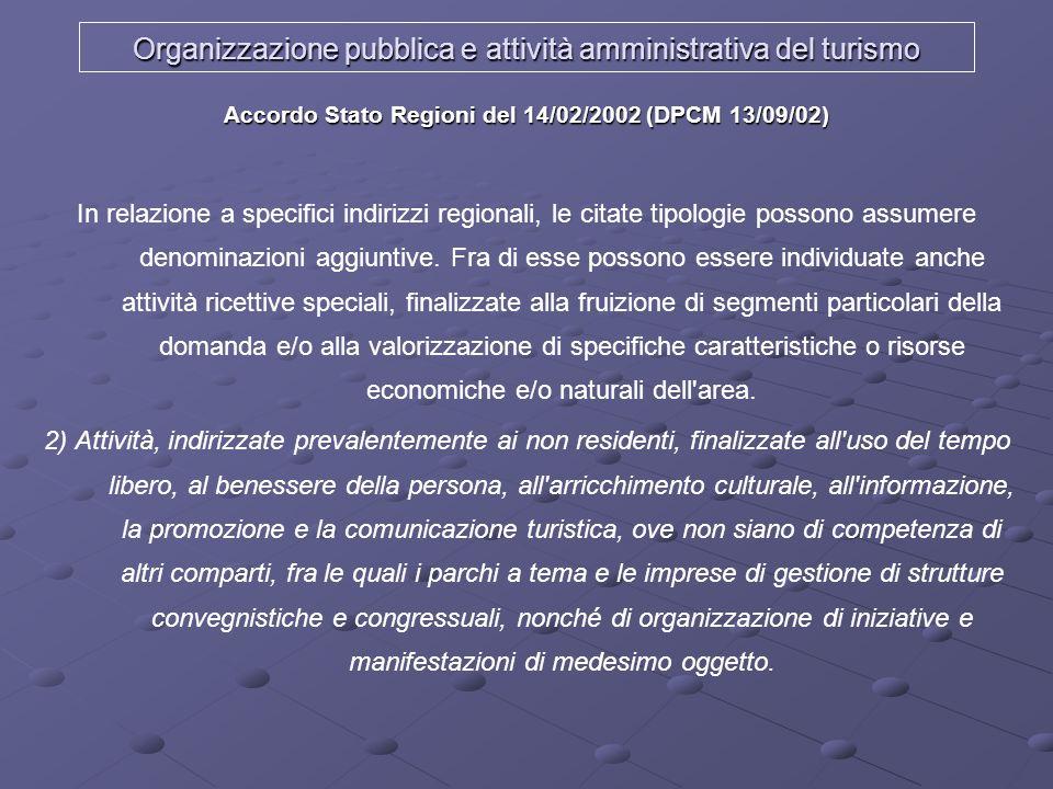 Organizzazione pubblica e attività amministrativa del turismo Accordo Stato Regioni del 14/02/2002 (DPCM 13/09/02) In relazione a specifici indirizzi