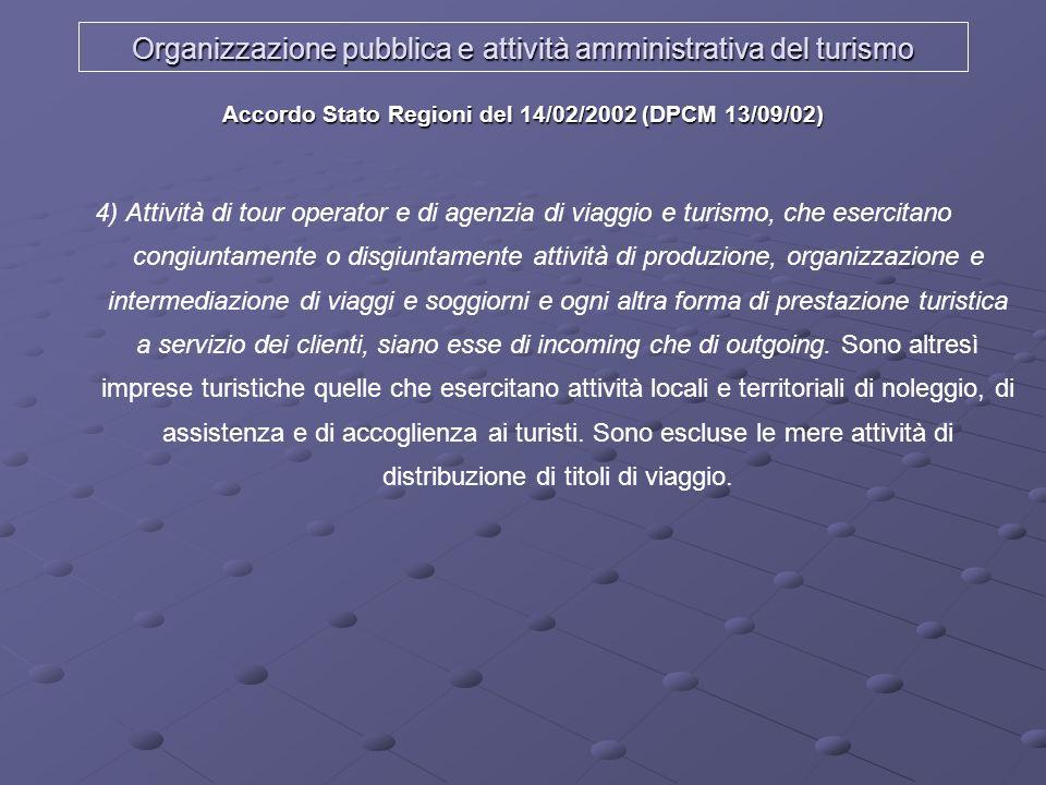 Organizzazione pubblica e attività amministrativa del turismo Accordo Stato Regioni del 14/02/2002 (DPCM 13/09/02) 4) Attività di tour operator e di a